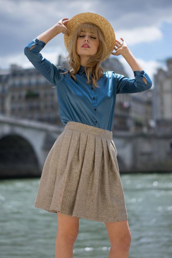 madame aime - body chemisier soie blue orage