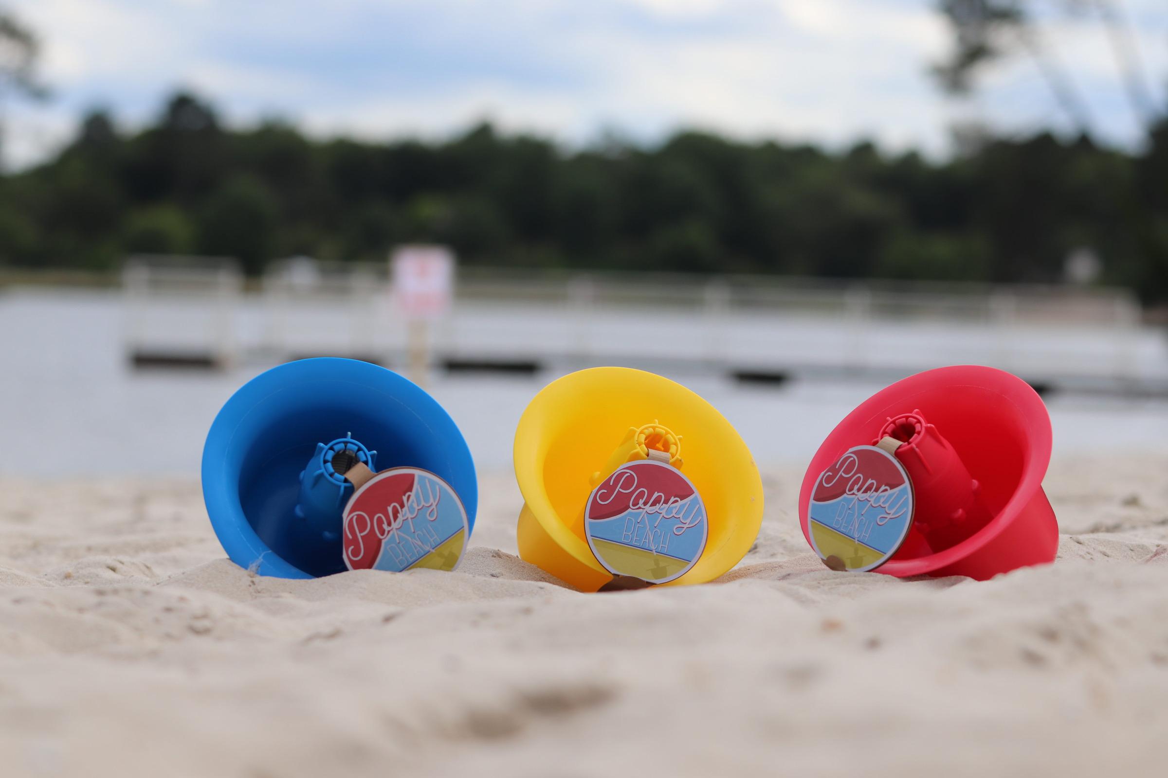 poppy beach - système innovant pour fixer son parasol